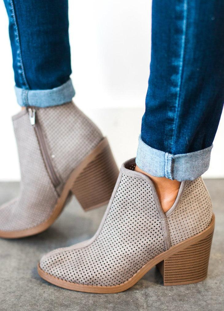 Shoes Willa Perforated Bootie Grey 5.5