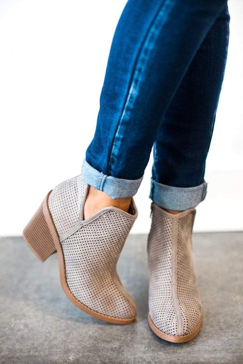 Shoes Willa Perforated Bootie Grey