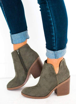 Shoes Willa Perforated Bootie Olive 5.5