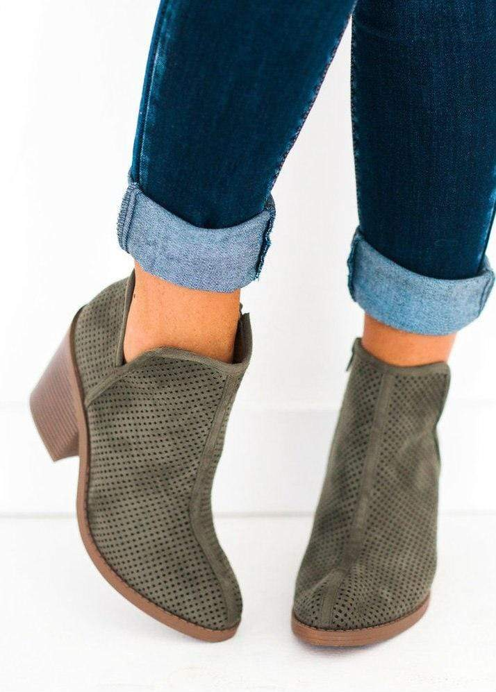 Shoes Willa Perforated Bootie Olive