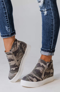 Shoes Zipper Wedge Sneakers Camo