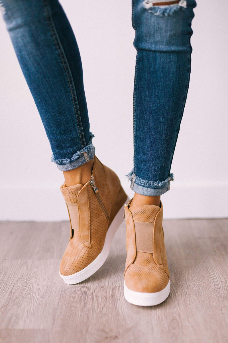 Shoes Zoey Wedge Sneakers Camel