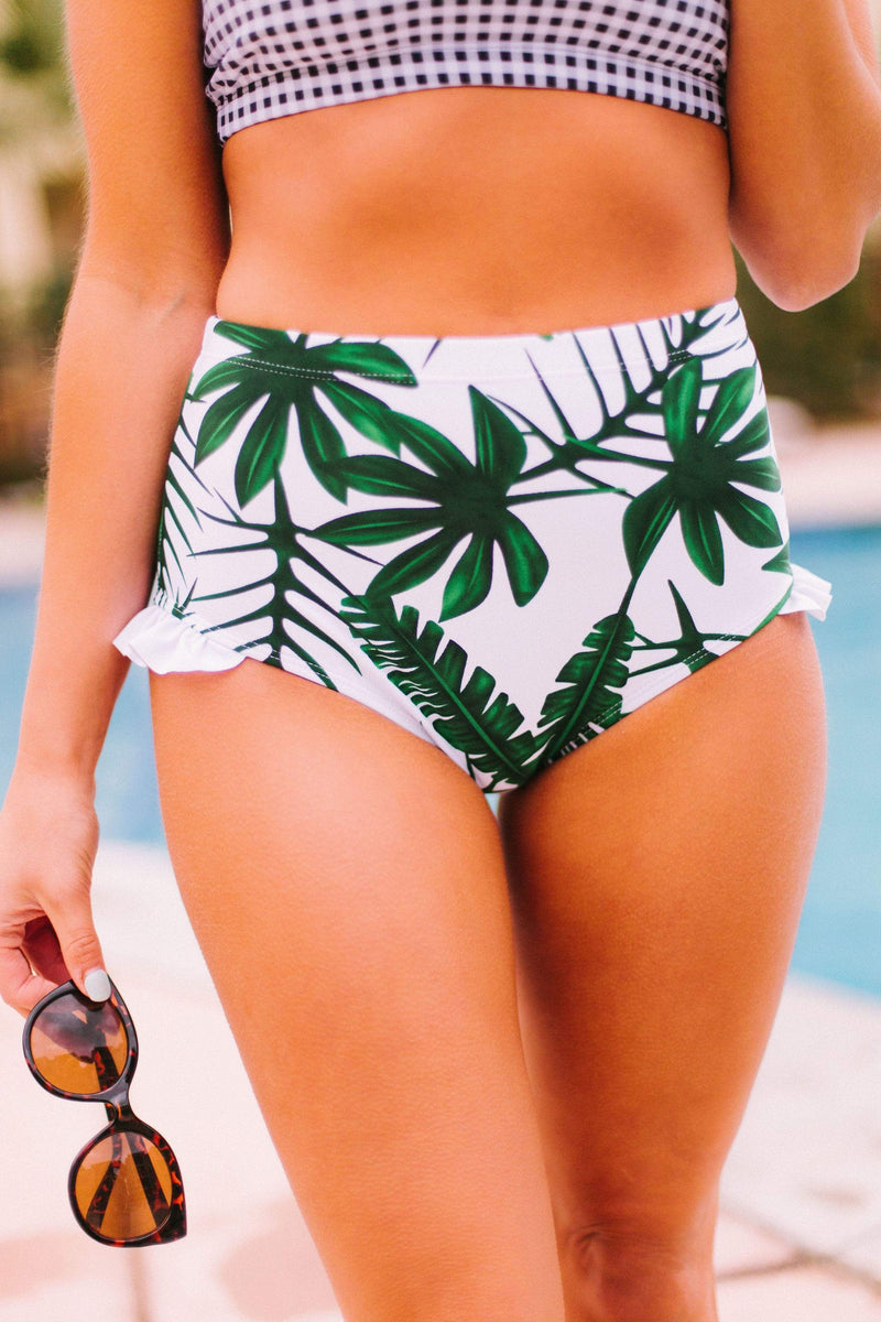 Swim Aloha Ruffle Bottom Palm Print