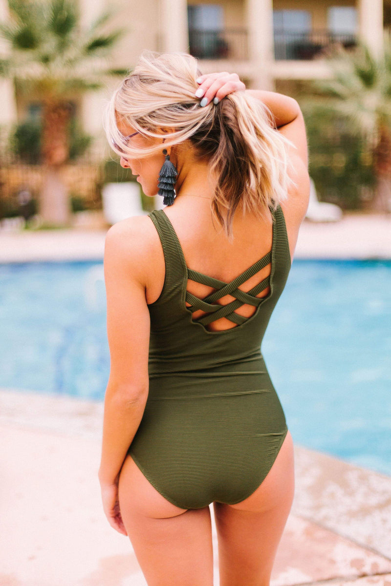 Swim Island Dweller One Piece Olive