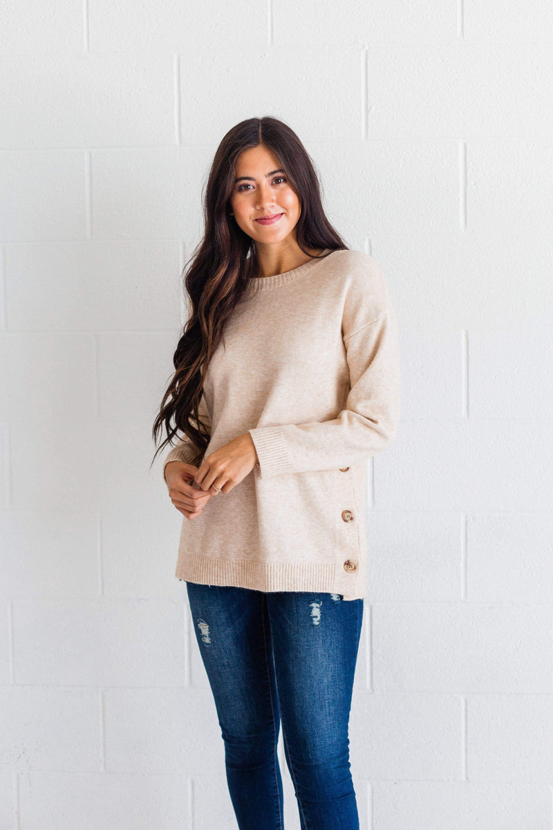 Top: Sweater Anne Button Sweater Oatmeal
