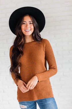 Top: Sweater Audrey Button Sweater Rust