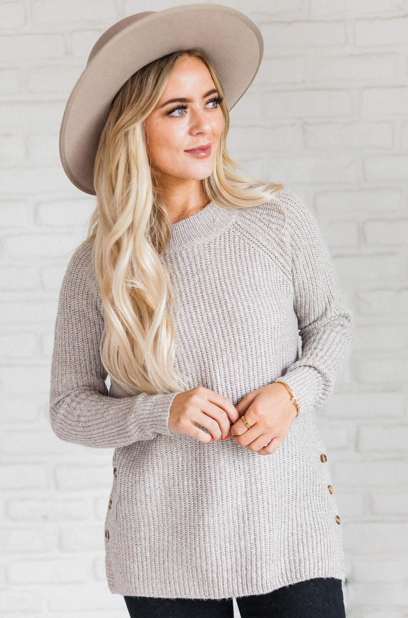 Top: Sweater Audrey Button Sweater Taupe
