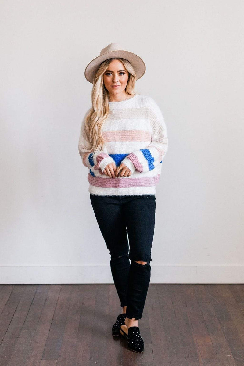Top: Sweater Betty Striped Sweater White