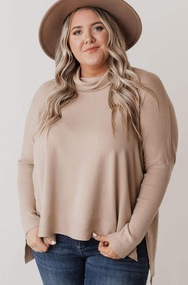 Top: Sweater Brie Cape Sweater Taupe PLUS