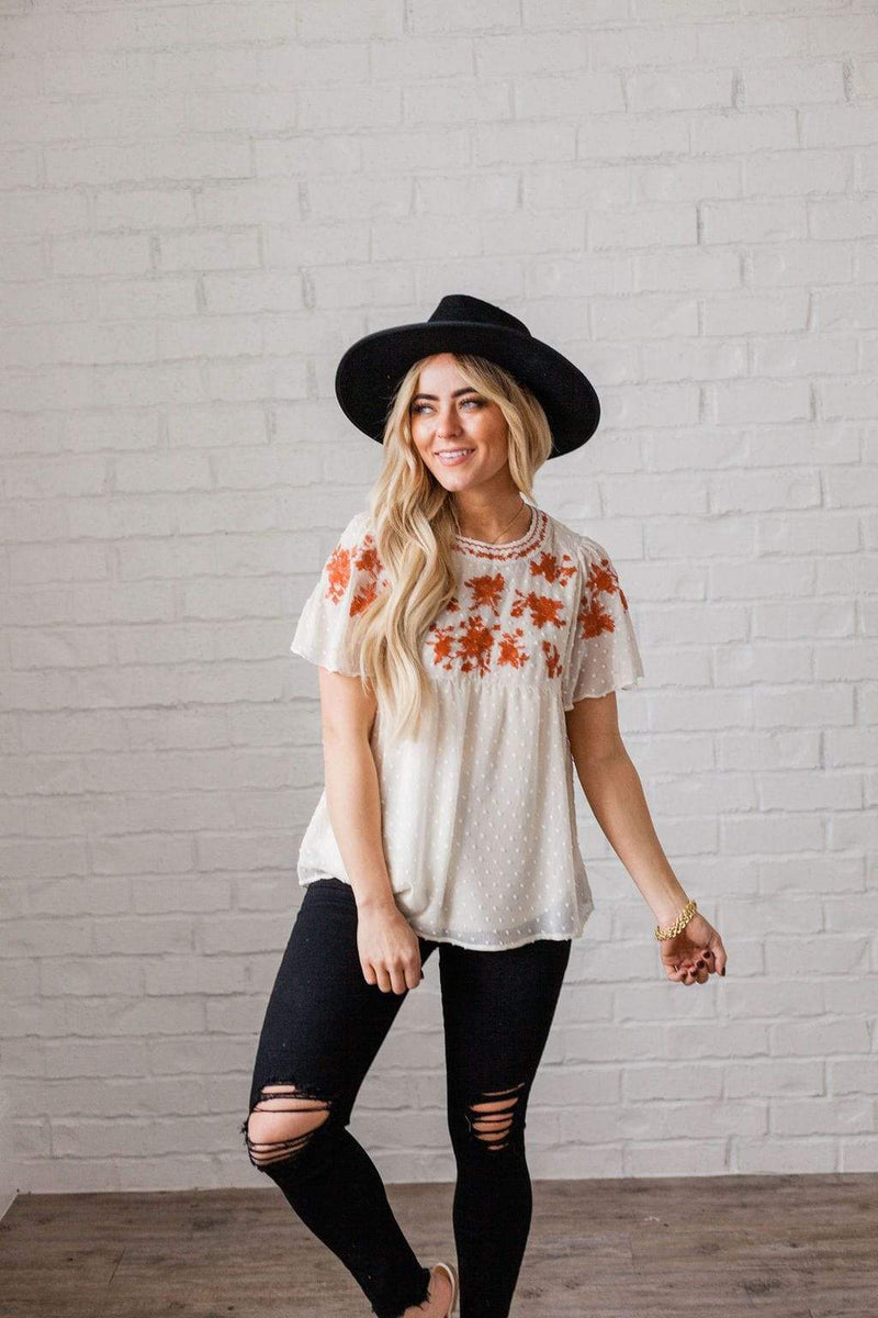 Top: Sweater Casey Embroidered Top Ivory