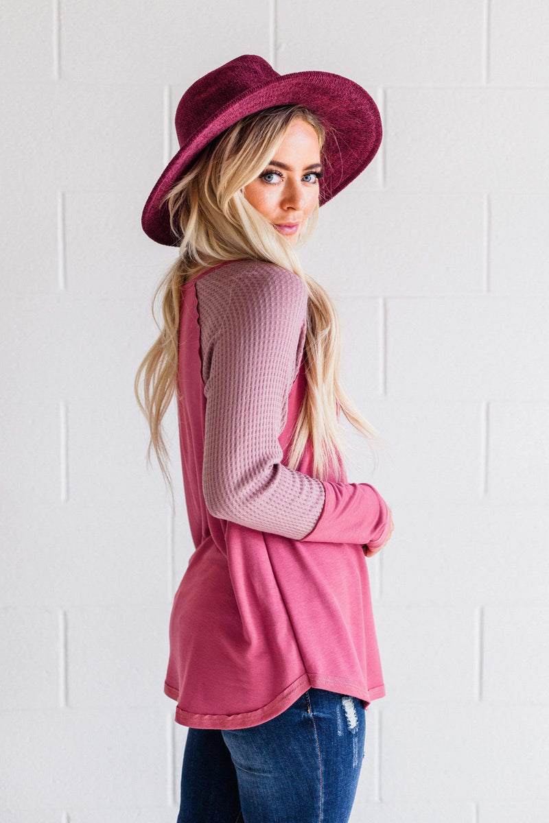 Top: Sweater Ember Waffle Knit Top Mauve