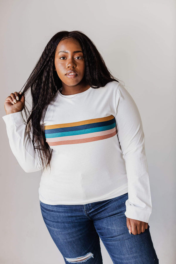 Top: Sweater EXCLUSIVE! Adrian Long Sleeve Striped Tee Ivory