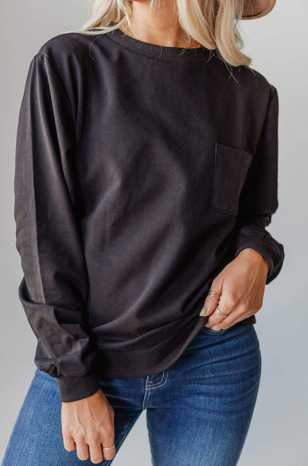 Top: Sweater EXCLUSIVE! Ally Pocket Pullover with Back Zipper Black