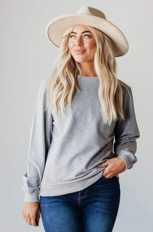 Top: Sweater EXCLUSIVE! Ally Pocket Pullover with Back Zipper Grey