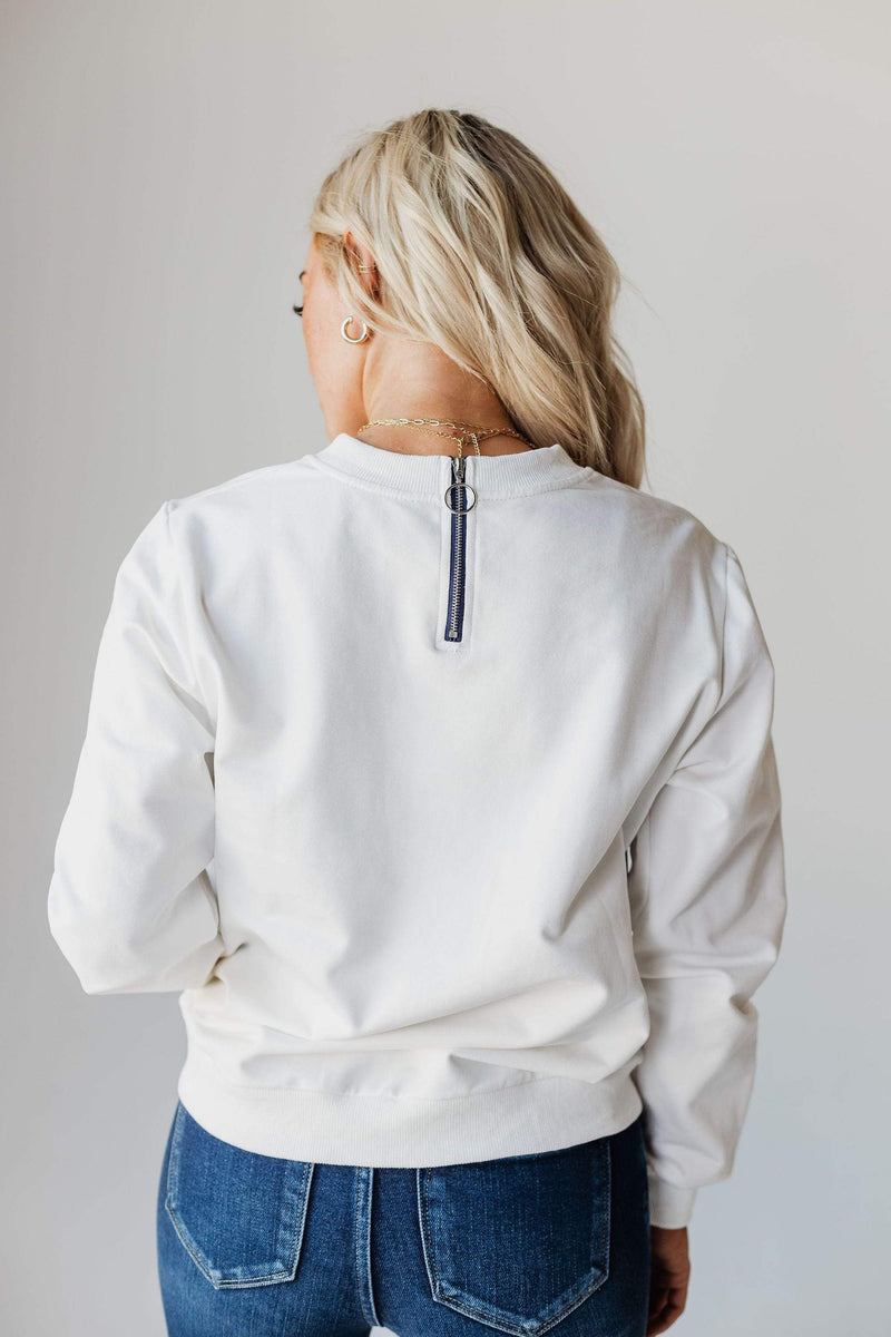 Top: Sweater EXCLUSIVE! Ally Pocket Pullover with Back Zipper Ivory