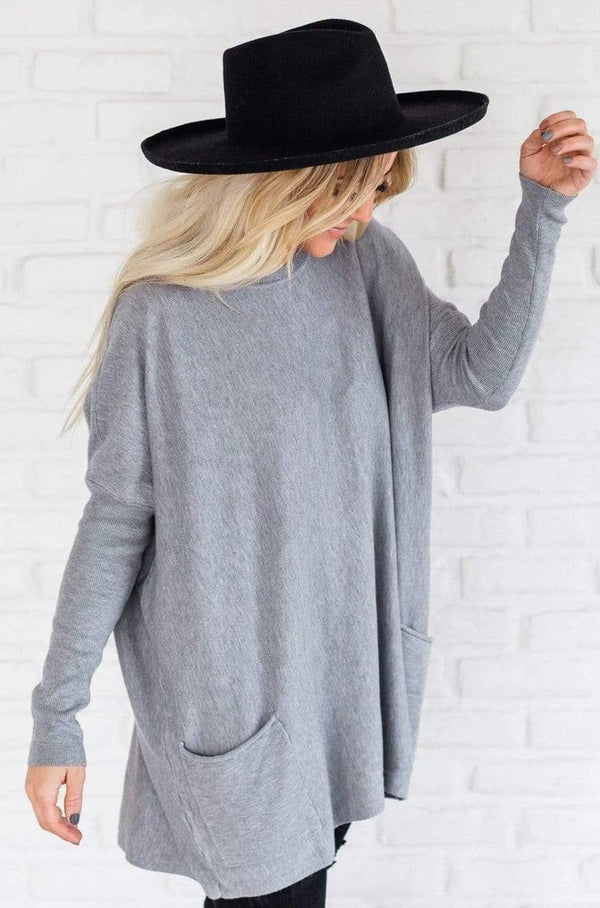 Top: Sweater Nova Relaxed Sweater Grey