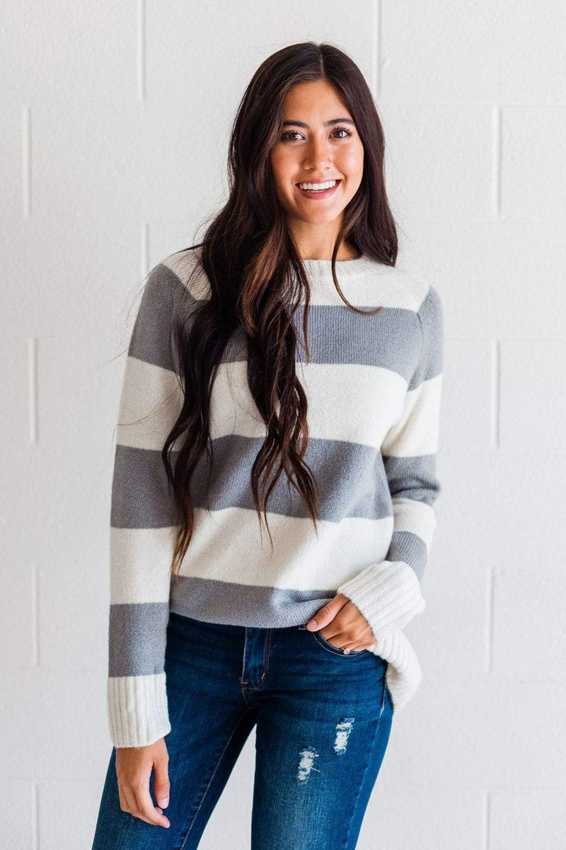 Top: Sweater Saige Striped Sweater Grey