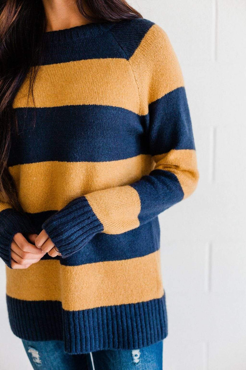Top: Sweater Saige Striped Sweater Navy