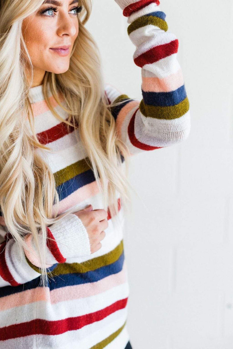 Top: Sweater Savanna Striped Sweater