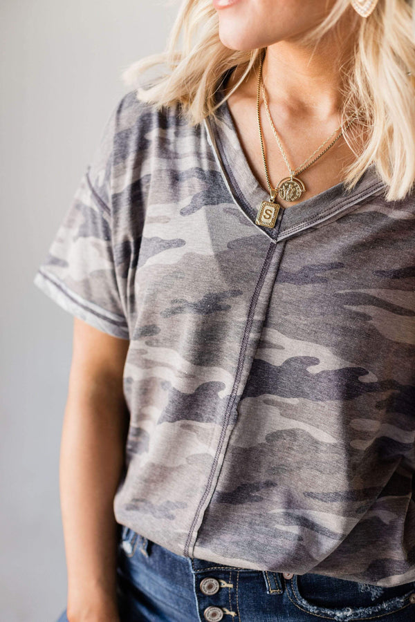 Tops Aiden Camo Top Grey