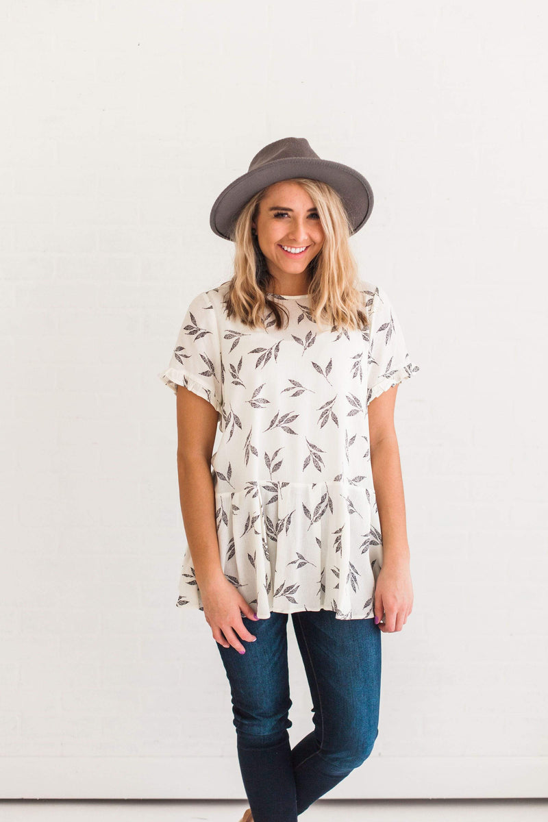 Tops Annabelle Leaf Print Top Ivory