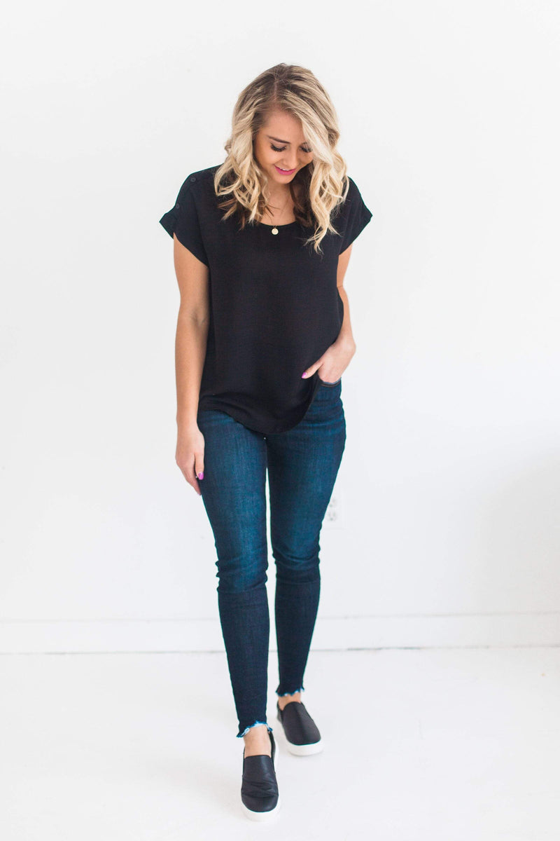 Tops Aria Button Shoulder Top Black