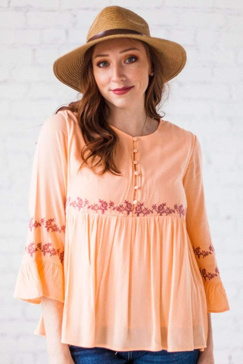 Tops Aubrey Embroidered Top Peach