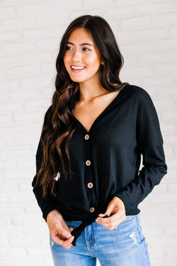 Tops Aurora Long Sleeve Waffle Knit Top Black