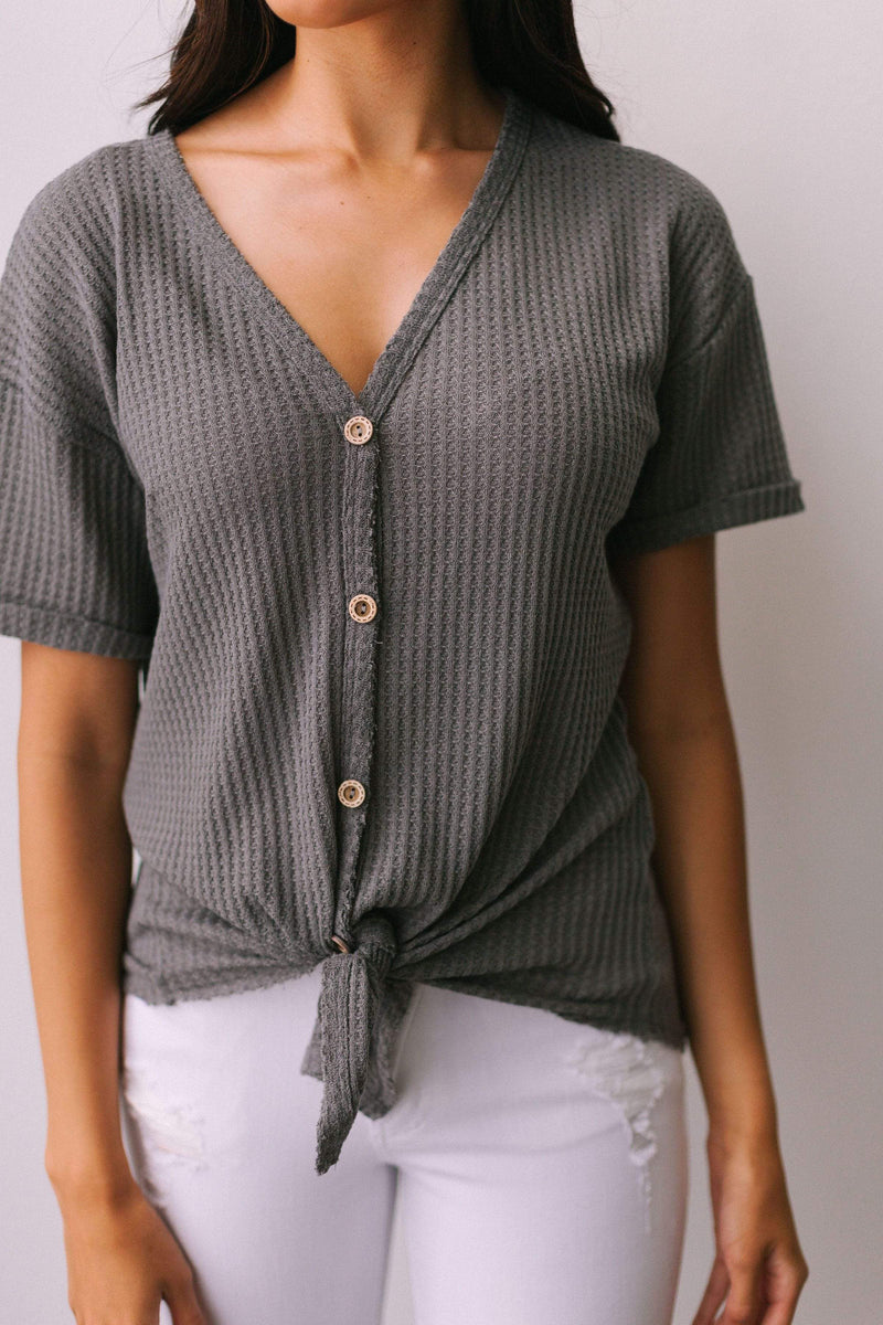 Tops Aurora Waffle Knit Top Charcoal