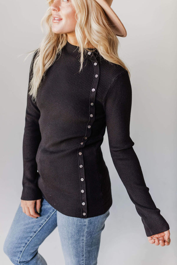 Tops Autumn Ribbed Mock Neck Sweater Black