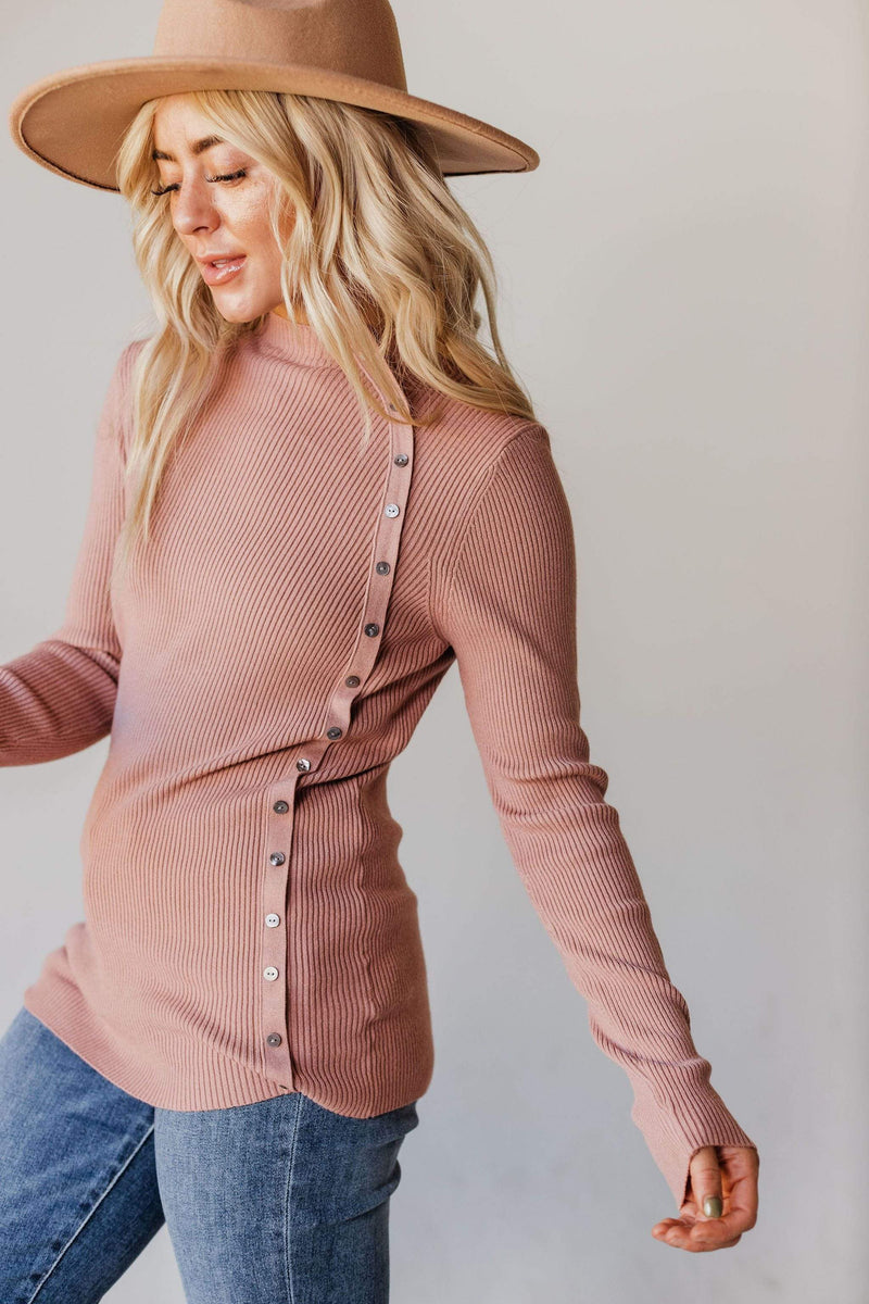 Tops Autumn Ribbed Mock Neck Sweater Dusty Rose