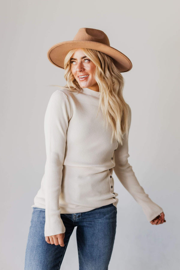 Tops Autumn Ribbed Mock Neck Sweater Ivory