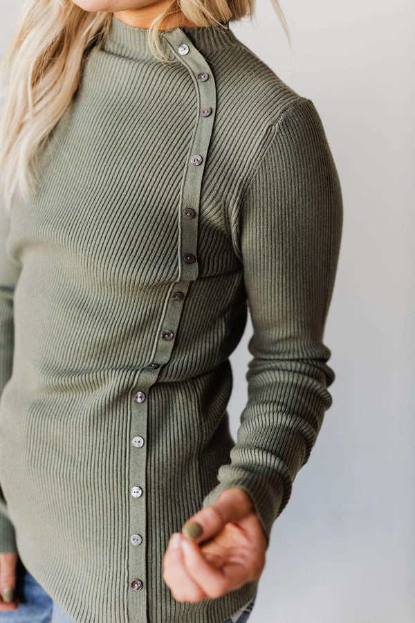 Tops Autumn Ribbed Mock Neck Sweater Olive