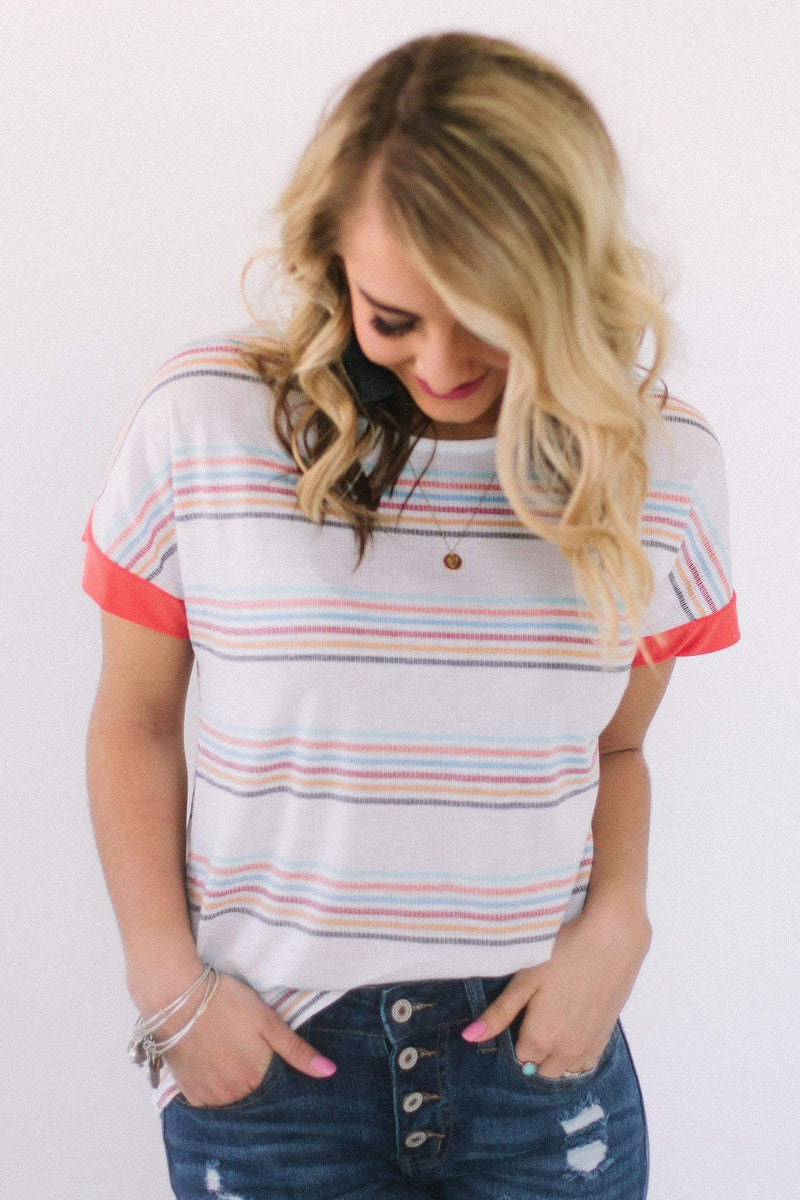 Tops Berlin Striped Top Ivory