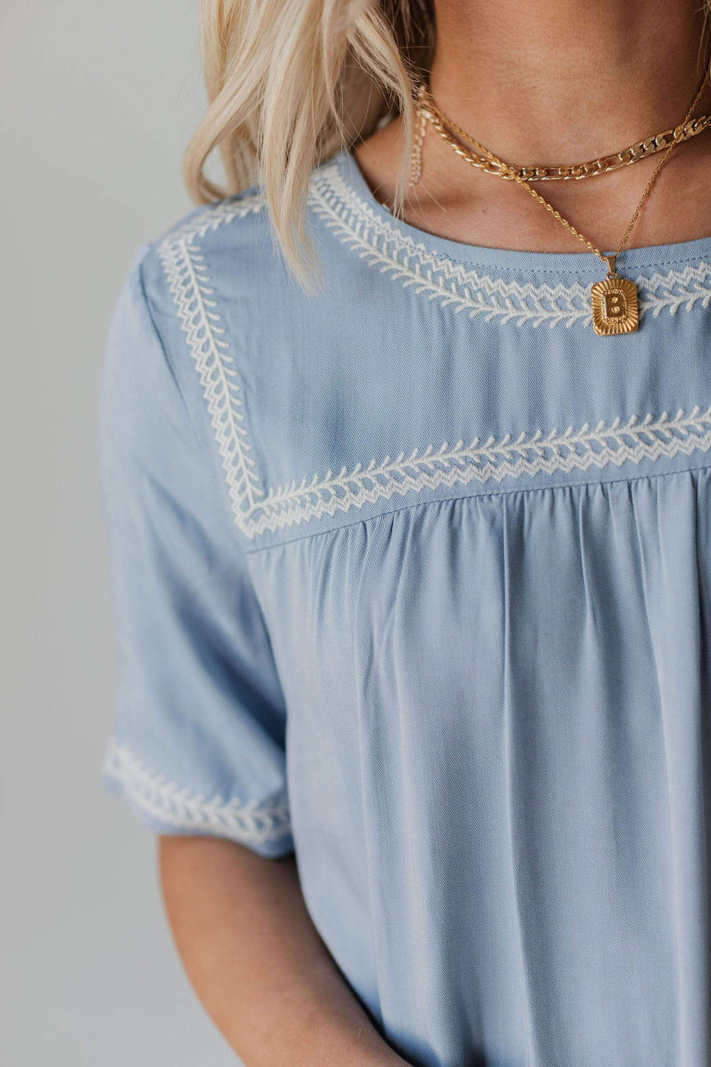 Tops Beth Embroidered Top Blue