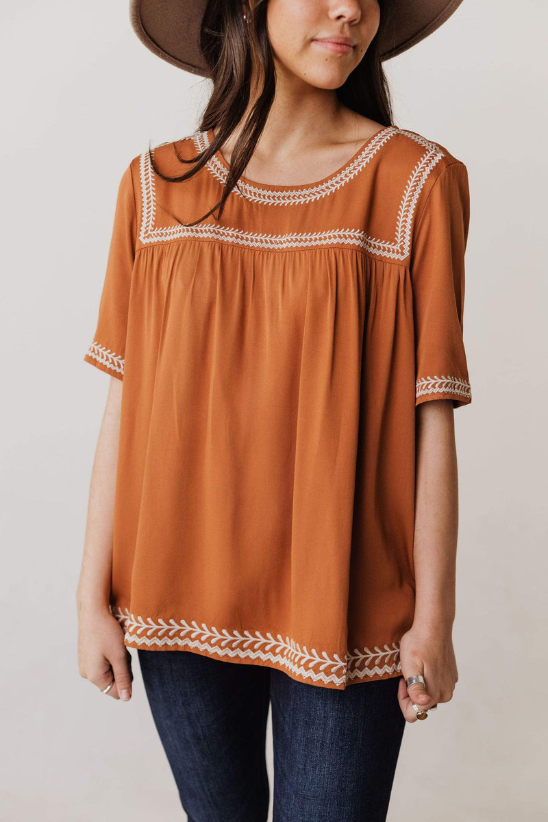 Tops Beth Embroidered Top Camel