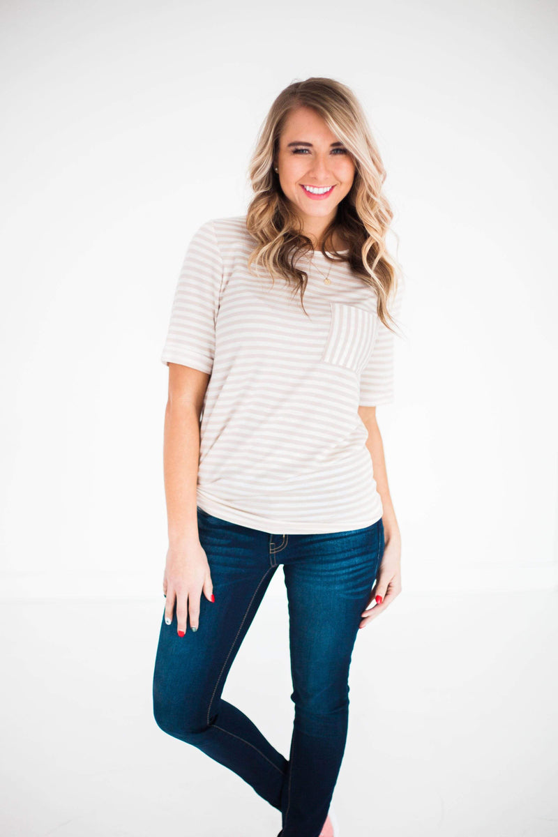 Tops Betty Striped Top Taupe