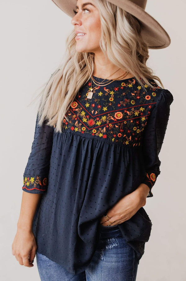 Tops Britney Embroidered Swiss Dot Top Navy