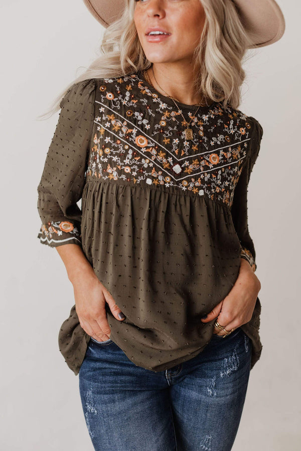 Tops Britney Embroidered Swiss Dot Top Olive