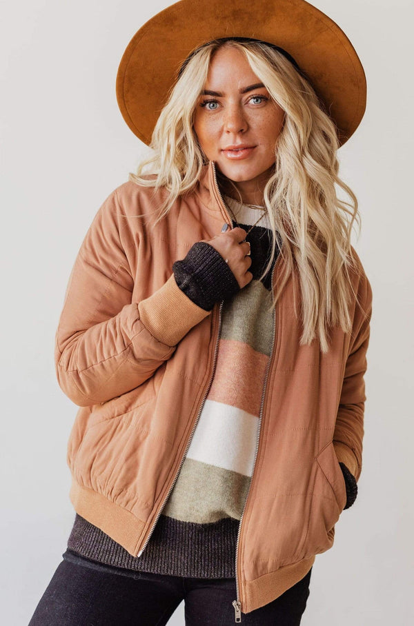 Tops Cady Quilted Bomber Jacket Peanut Butter
