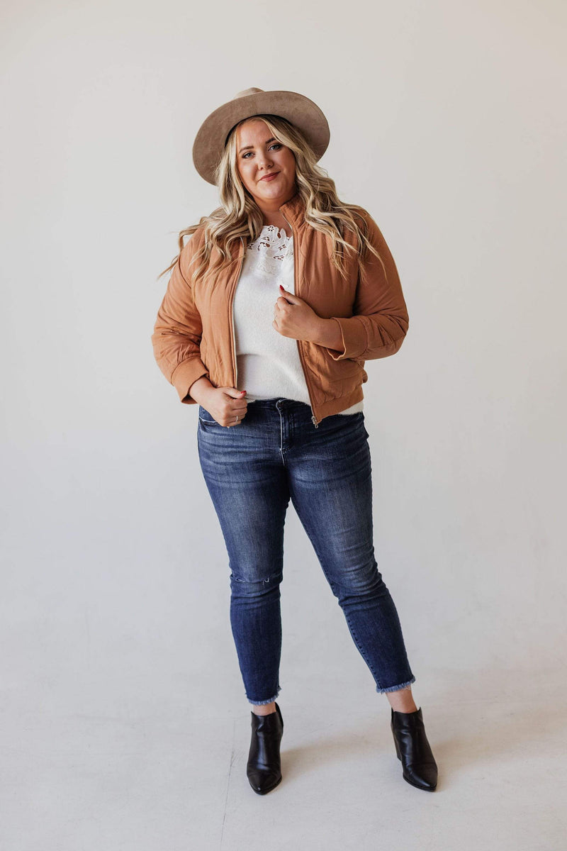 Tops Cady Quilted Bomber Jacket Peanut Butter PLUS