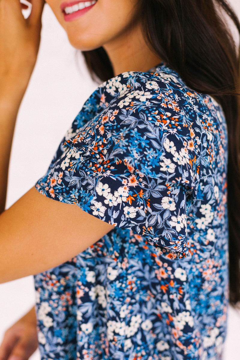 Tops Cassie Floral Top Navy