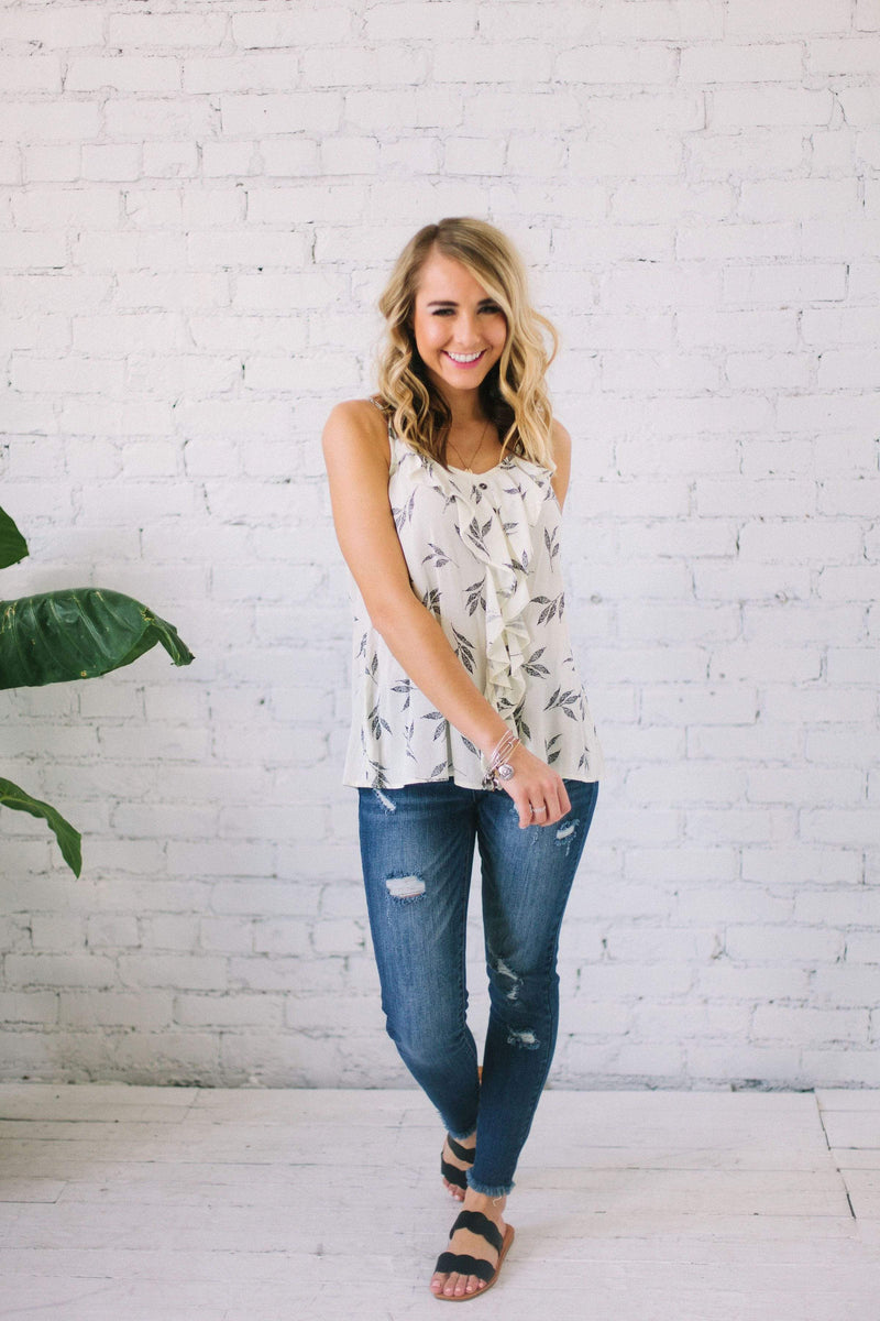 Tops Charlotte Leaf Print Top Ivory
