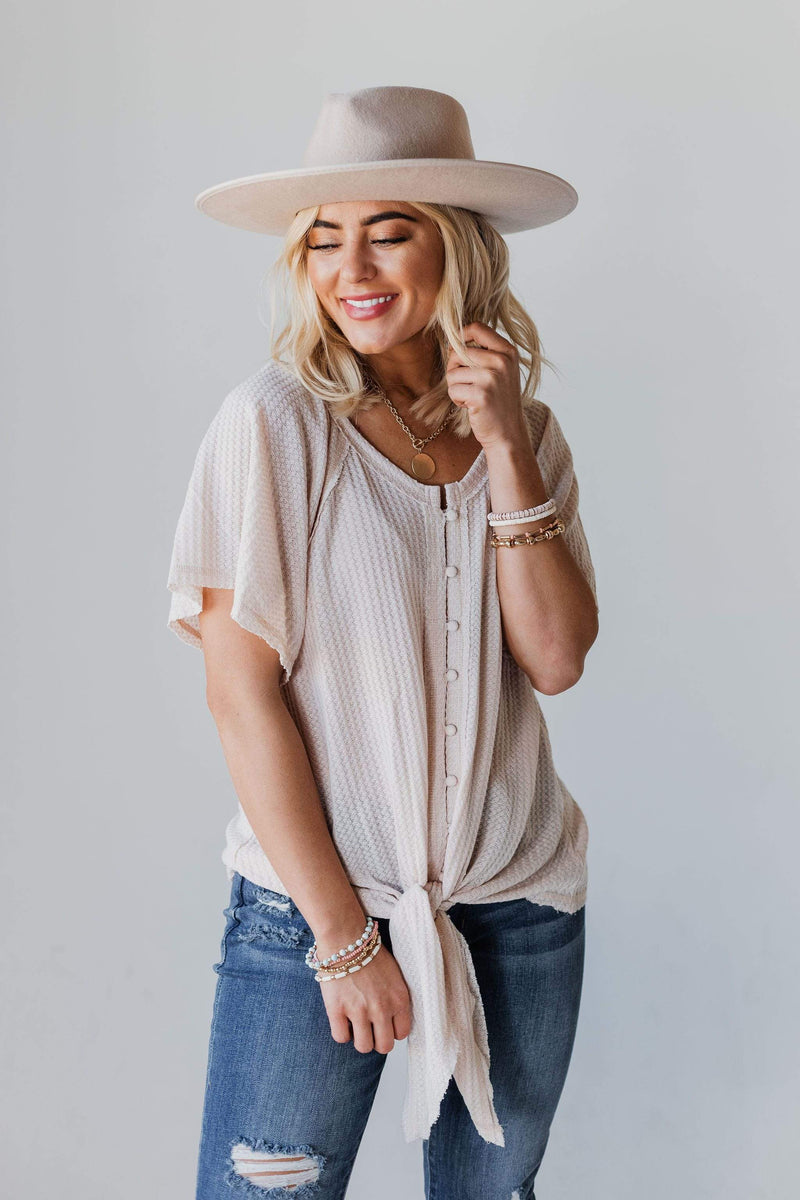 Tops Cheyenne Button Up Top Oatmeal