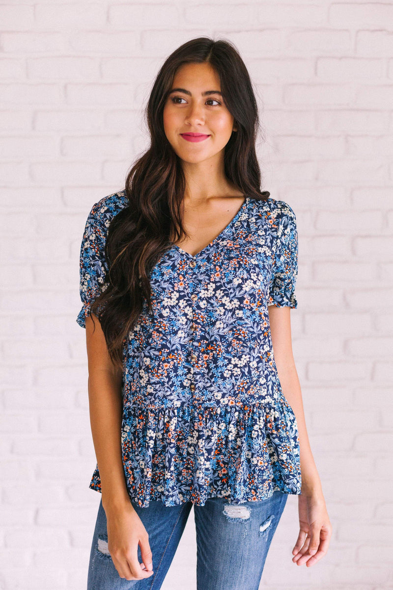 Tops Christine Floral Top Navy