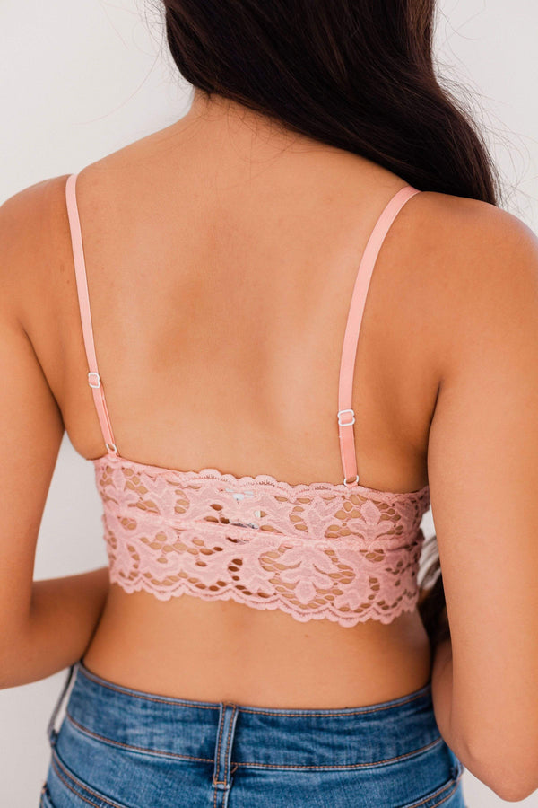 Tops Chunky Lace Bralette Blush