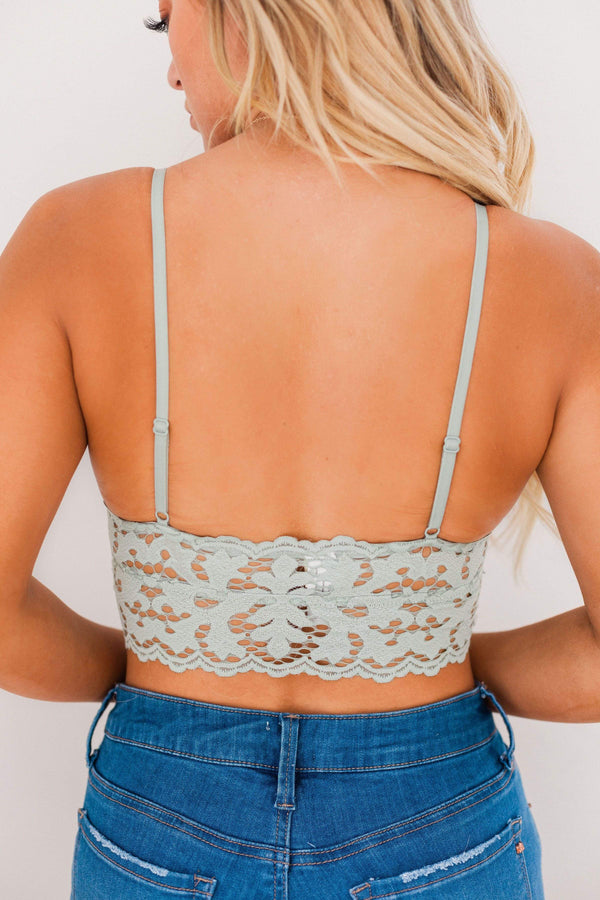 Tops Chunky Lace Bralette Sage
