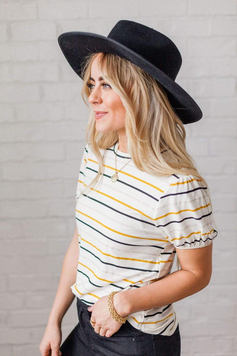 Tops Corinne Striped Top Mustard