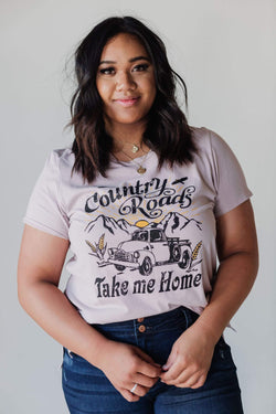 Tops Country Roads Tee Blush