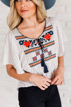 Tops Daisy Embroidered Top Taupe